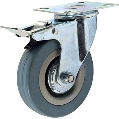 Колесная опора промышленная поворотная SCgb160 с тормозом серая резина - фото 32530