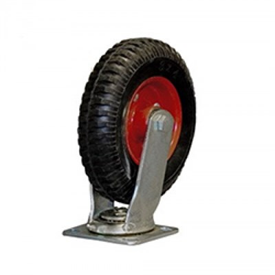 Колесная опора большегрузная поворотная 630200 (PRS200), литая протекторная резина - фото 32536