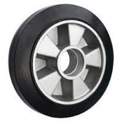 Колесо рулевое 180х50 мм (резина/алюминий), без подшипника, совместим: гидравлическая тележка (рохля, рокла), штабелер - фото 32580