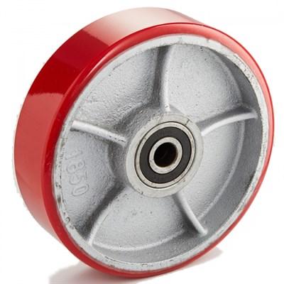 Колесо рулевое 200х50 мм (полиуретан/чугун), без подшипника, совместим: гидравлическая тележка (рохля, рокла), штабелер - фото 32582