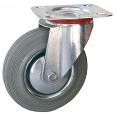 Колесная опора промышленная поворотная SCg160 (11160G) серая резина - фото 32585