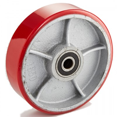 Колесо рулевое 200х50 мм (полиуретан/чугун), с подшипником, совместим: гидравлическая тележка (рохля, рокла), штабелер - фото 32589