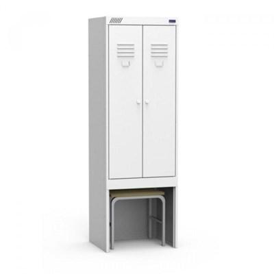 Металлический шкаф для одежды модульный сборный с нишей для выдвижной скамьи Металл-Завод ШРК 22-600 ВСК - фото 32674