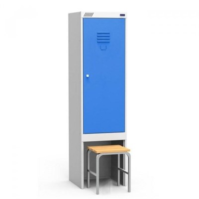 Металлический шкаф для одежды модульный сборный с нишей для выдвижной скамьи Металл-Завод ШРЭК 21-530 ВСК - фото 34086