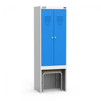Металлический шкаф для одежды модульный сборный с нишей для выдвижной скамьи Металл-Завод ШРЭК 22-530 ВСК - фото 34087