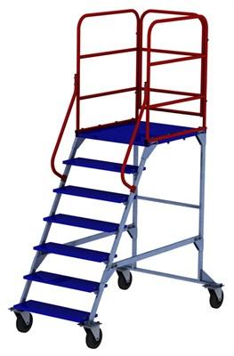Передвижная мобильная лестница с одним лестничным маршем ЛР 6.1 (6 ступеней 1 марш) 160-чр - фото 40860