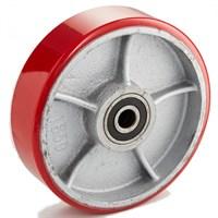Колесо рулевое 200х50 мм (полиуретан/чугун), без подшипника, совместим: гидравлическая тележка (рохля, рокла), штабелер