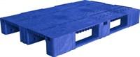Паллет п/э 1200х800х150 перфорированный, на 3-х полозьях цв. синий (TR 1208-2 синий)