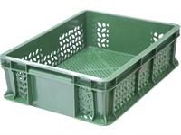 Ящик п/э 400х300х120 перфорированный, с внешней ручкой цв. зелёный (701.01.02)