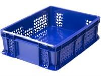 Ящик п/э 400х300х120 дно сплошное, стенки перфорированные, с внешней ручкой цв. синий (701.02.02)