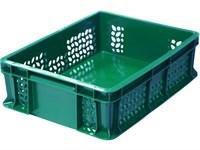 Ящик п/э 400х300х120 дно сплошное, стенки перфорированные, с внешней ручкой цв. зелёный (701.02.02)