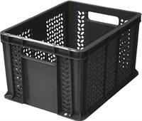 Ящик п/э 400х300х230 дно сплошное, стенки перфорированные, с ручками цв. чёрный (703.02.01)