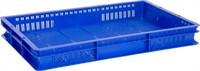 Ящик п/э 600х400х75 с перфорацией цв. синий (423)