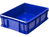 Ящик п/э 400х300х120 сплошной, с внешней ручкой цв. синий (701.03.02)