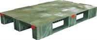 Паллет 1200х800х150 мм (усиленный сплошной на 3-х полозьях) зеленый (TR 1208-1-1 зеленый)