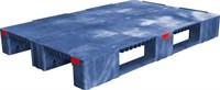 Паллет п/э 1200x800х150 сплошной, усиленный, на 3-х полозьях цв. синий (TR 1208-1-1 синий)