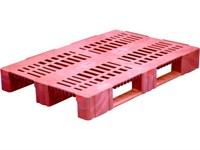 Паллет п/э 1200х800х150 перфорированный усиленный (версия 2), на 3-х полозьях цв. красный (TR 1208-3-2 красный)